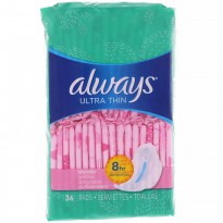 Always, Ultra Thin with Wings, Slender, 36 Pads