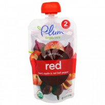 Plum Organics, Stage 2, Eat Your Colors, Red, Beet, Apple & Red Bell Pepper, 3.5 oz (99 g)