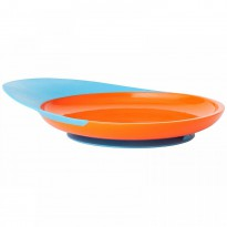 Boon, Catch Plate, Toddler Plate with Spill Catcher, 9 + Months, Orange/Blue, 1 Plate