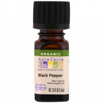 Aura Cacia, Organic, 100% Pure Essential Oil, Black Pepper, .25 fl oz (.74 ml)