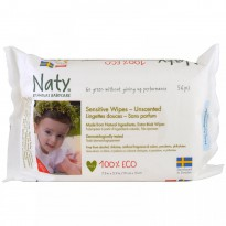 Naty, Sensitive Wipes, Unscented, 56 Wipes