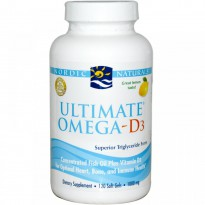 Nordic Naturals, Ultimate Omega-D3, Lemon, 1000 mg, 120 Soft Gels