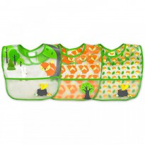 iPlay Inc., Green Sprouts, Wipe-Off Bibs, 9-18 Months, Green Fox Set, 3 Pack