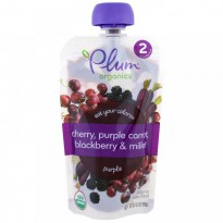 Plum Organics, Stage 2, Eat Your Colors, Purple, Cherry, Purple Carrot, Blackberry & Millet, 3.5 oz (99 g)