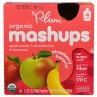 Plum Organics, Plum, Organic Mashups, Apple Sauce + Strawberries & Bananas, Strawberry Banana, 4 Pouches, 3.17 oz (90 g) Each